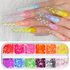 Fluorescent Nail Art Flakes Holographics Butterfly Nail Sequins Decal Decoration