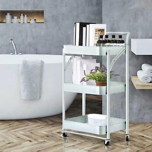 3 Tiers Kitchen Cart Island Rolling Dining Metal Trolley Storage Cabinet Home