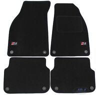 LUKAU004 TAILORED Black floor logo Car Mats designed for A6 C6 2004- 2011 4pcs