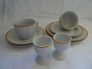 Domestic Porzellan Sylt Orange 9 Einzelteile Tassen, Teller, Eierbecher