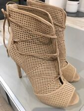 Guess Women's  Open-Toe Perforated Booties, Beige Suede Leather, Size Uk 8 BNWOB