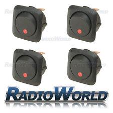4x LED Rosso Illuminato Rocker Interruttore ON/OFF 12 V 25 A LUCE Dash per Auto Furgone