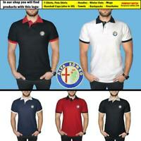 Alfa Romeo Polo T Shirt COTTON EMBROIDERED Auto Car Logo Tee Mens Clothing Gift