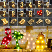 LED Letter Sign Alphabet Warm White Lights Lamp Party Wedding Store Home Decor