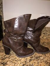 New York Transit strappy cowgirl western high heel boots booties size 9M studs