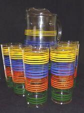 Retro Indiana Glass Strata Ice Tea Cooler Set Fiesta Colored Stripes 7 Pieces