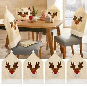 New Christmas Chair Covers Deer Christmas Dinner Decor Xmas Cap Gifts WL