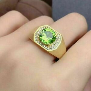 Natural Peridot Gemstone With 925 Sterling Silver Ring For Men's #04