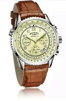 Rotary GS03447/08 Men's Brown and Cream Chronograph Strap Watch. New In Box. 380