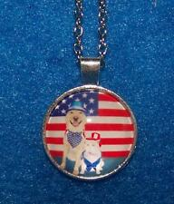 Female keyChain Pet Flag Animal Free silver Dog Cat pendant charm necklace men