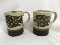 2 Vtg FISH Design Coffee Cocoa Mugs Cups Brown Stoneware Otagiri MCM Mint Condtn