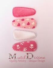 Baby Girls Non Slip Hair Clips ~ 3cm Snap Clips Set of 4 ~ Pink Tulip Heart