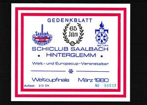 SELTEN Nr. 7 Gedenkblatt SC Saalbach Hinterglemm 65 Jahre Auflage 500 Stk.