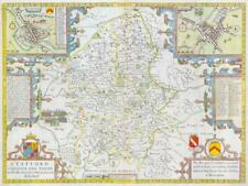 1676 Original Antique Map - STAFFORDSHIRE by John Speed Bassett & Chiswell