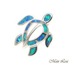 925 Sterling Silver Rhodium Hawaiian Honu Sea Turtle Blue Opal Slider Pendant