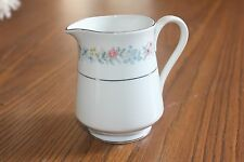 Bristol Fine China Helene Cream Pitcher S-4339 White Flowers Silver Trim
