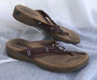 Women's - Minnetonka - Thongs - Sandals - Brown - Leather - Beaded - Sz 6