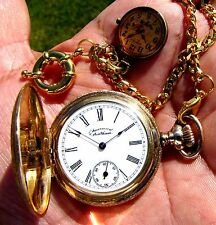 Antique 16 Jewels Gold Filled Hunter Case Pocket Watch  Lady Waltham Working