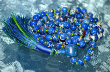 Blue Sea Sediment 8mm Hand Knotted Mala Beads Necklace - Overcoming loss of love