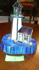 Stained Glass Lighthouse Lamp - Cream Tower with Dark Blue Base (#4)
