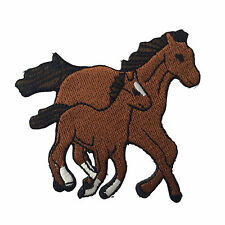 Embroidered Brown Horse & Foal Equestrian Animal Iron on Patch Biker Patch