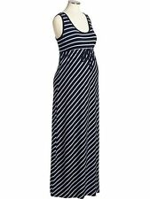 NEW OLD NAVY BLUE MATERNITY STRIPED JERSEY MAXI DRESS  SZ S SMALL
