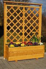 Holz Blumenkasten, Pflanzkasten mit Rankgitter geölt im Farbton Kiefer