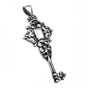 Men's Ornate Key Pendant  in Stainless Steel