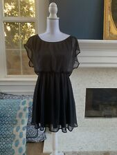 NORDSTROM LUSH Brand Flowy Lined Little Black Dress Elastic Fitted Waist - Sz M
