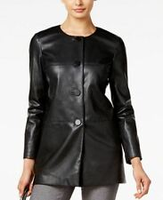 NEW(J069-40) Alfani PRIMA Faux-Leather Jacket Deep Black Sz S $150