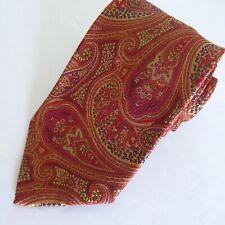 Hickey Freeman Tie Orange Pink Paisley 100% Silk