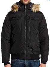 NWT Ben Sherman Detachable Faux Fur Trim Hooded Bomber Jacket BLACK L $190 chi#