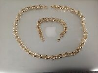 "18k Gold filled Diamond Cut Solid Belcher Chain 24"" Necklace and 8"" Bracelet Set"