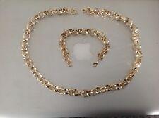 "18k Gold filled Diamond Cut Solid Belcher Chain 24"" Necklace and 8"" Bracelet Set"