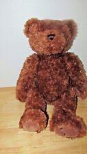 "FAO Schwarz brown plush teddy bear 15"" Toys R Us metal tush button"