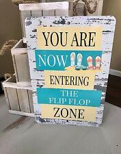 Flip Flop Metal Sign - Beach Decor - Flip Flop Zone Sign - Home Decor