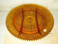 Tiara Glass Amber Brown 3 Section Divided Relish Serving Tray in original box
