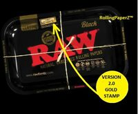 RAW GOLDEN STAMP Black Metal Rolling Tray VERSION 2 Limited Edition 11'' x 7''