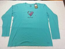 Life is Good Women's Crusher LS Tee Watercolor Heart in Teal - XXL - NWT R$28