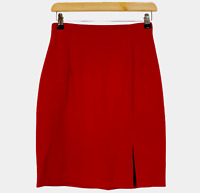 Cue Design Vintage Womens Red Lined Corporate Pencil Skirt Size 8 W26