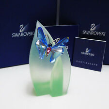NEW Swarovski Sapphire Crystal Paradise BUTTERFLY ANSINA & LEAF STAND FIGURINE!