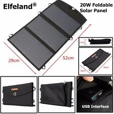 20W Foldable Solar Panel Battery Charger Portable Power Bank Pack Dual USB Port