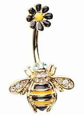 Belly Button Ring Golden Queen Bee Black Daisy Navel Ring 14 gauge 3/8'' bar