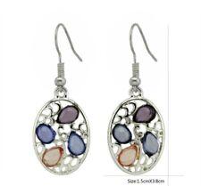 1 pair blue purple stone drop oval  silver coloured earrings gsd7