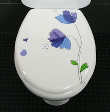 Toilet Seat Blue Flower Novelty Toilet Seat Duroplast with Stainless Steel Hinge