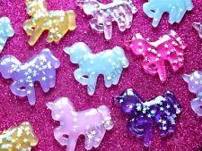 4 un. mixed Brillo Unicornio Kit hágalo usted mismo Decoden Flatback Cabochon Artesanal Nuevo