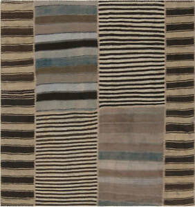 Turkish Kilim Rug in Blue, Beige and Brown Stripes BB6958
