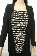 Ladies Black Overlayed Jacket and Joined Striped Top  size 12