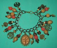 """""""TREE OF LIFE""""- ONE OF A KIND-ALTERED ART CHARM BRACELET-ANTIQUE BRONZE TONE"""
