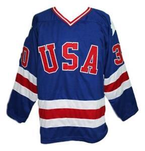 Any Name Number Size Team USA Custom Hockey Jersey Blue Craig